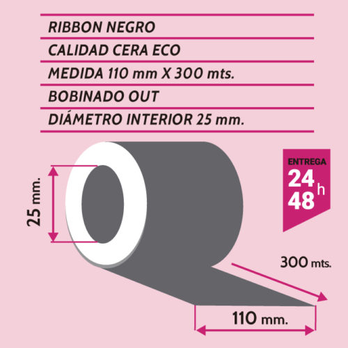 RIBBON NEGRO CERA ECO 110 mm X 300 mts OUT