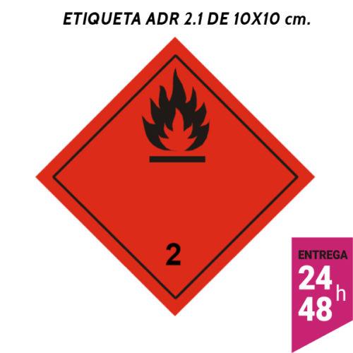 Etiqueta ADR 2.1 100x100 polipropileno blanco - transporte mercancías peligrosas - Etiqueting