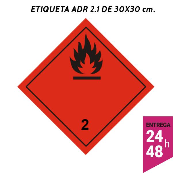 Etiqueta ADR 2.1 300x300 polipropileno blanco - transporte mercancías peligrosas - Etiqueting
