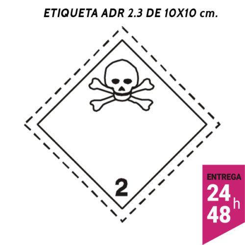 Etiqueta ADR 2.3 100x100 polipropileno blanco - transporte mercancías peligrosas - Etiqueting