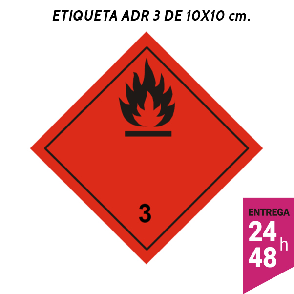 Etiqueta ADR 3 100x100 polipropileno blanco - transporte mercancías peligrosas - Etiqueting