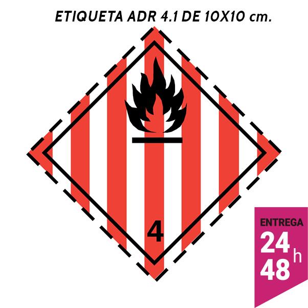 Etiqueta ADR 4.1 100x100 polipropileno blanco - transporte mercancías peligrosas - Etiqueting
