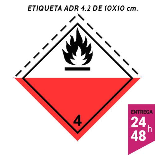 Etiqueta ADR 4.2 100x100 polipropileno blanco - transporte mercancías peligrosas - Etiqueting