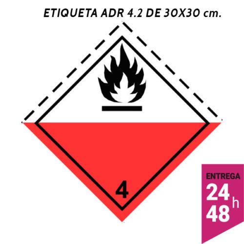 Etiqueta ADR 4.2 300x300 polipropileno blanco - transporte mercancías peligrosas - Etiqueting