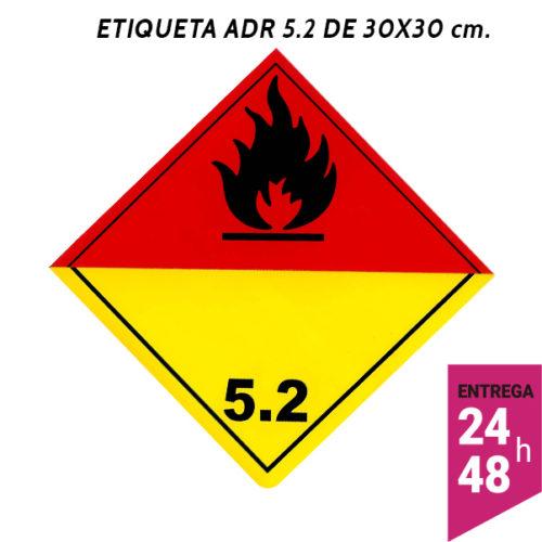 Etiqueta ADR 5.2 300x300 polipropileno blanco - transporte mercancías peligrosas - Etiqueting