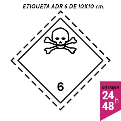 Etiqueta ADR 6 100x100 polipropileno blanco - transporte mercancías peligrosas - Etiqueting