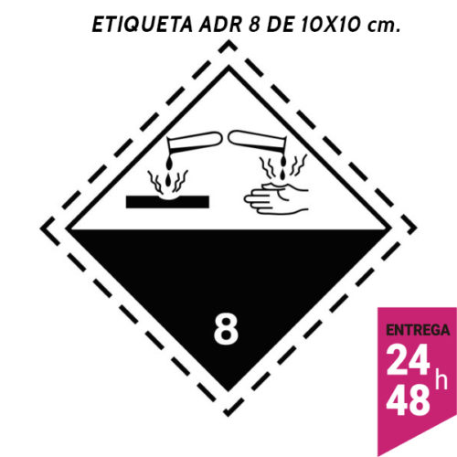 Etiqueta ADR 8 100x100 polipropileno blanco - transporte mercancías peligrosas - Etiqueting