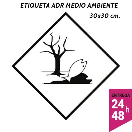 Etiqueta ADR medio ambiente pez y arbol 300x300 polipropileno blanco - transporte mercancías peligrosas - Etiqueting