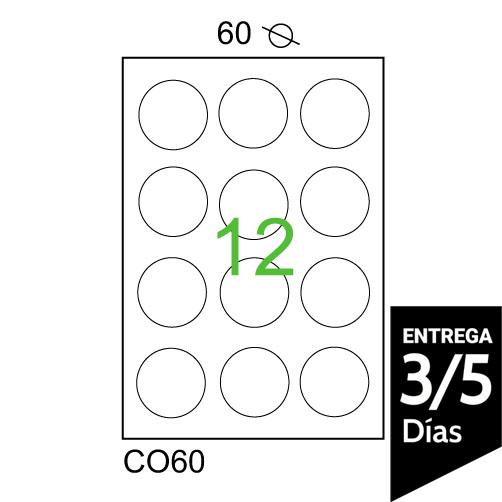 HOJA A4 CON 12 ETIQUETAS 60 MM