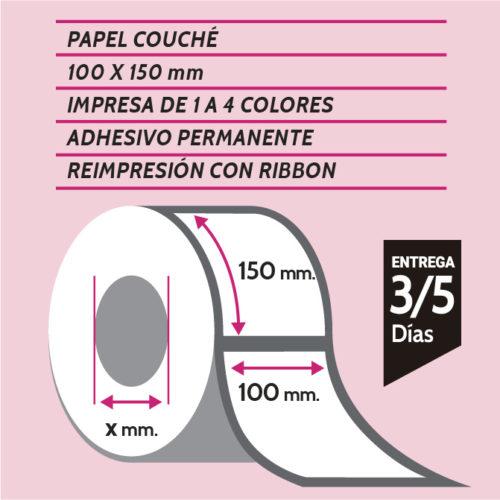 Etiquetas autoadhesivas papel couché impresas de 1 a 4 colores de medida 100X150 mm con o sin trepado entre etiquetas. Entrega en 3/5 días.
