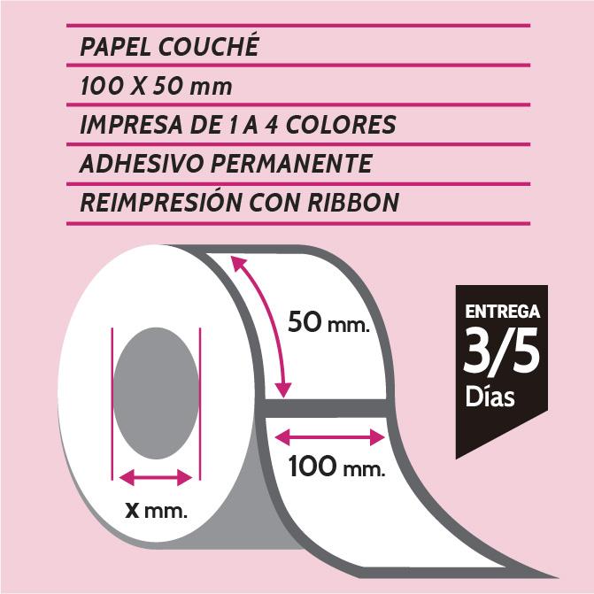etiquetas de papel couché 100x50