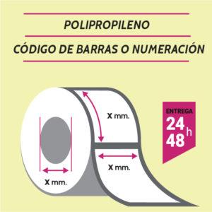 ETIQUETAS POLIPROPILENO - CODIGO DE BARRAS O NUMERADAS
