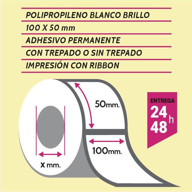 Etiquetas autoadhesivas papel couché impresas de 1 a 4 colores de medida 100X50 mm con o sin trepado entre etiquetas. Entrega en 3/5 días.