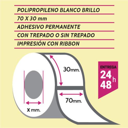 Etiquetas autoadhesivas papel couché impresas de 1 a 4 colores de medida 70x30 mm con o sin trepado entre etiquetas. Entrega en 3/5 días.