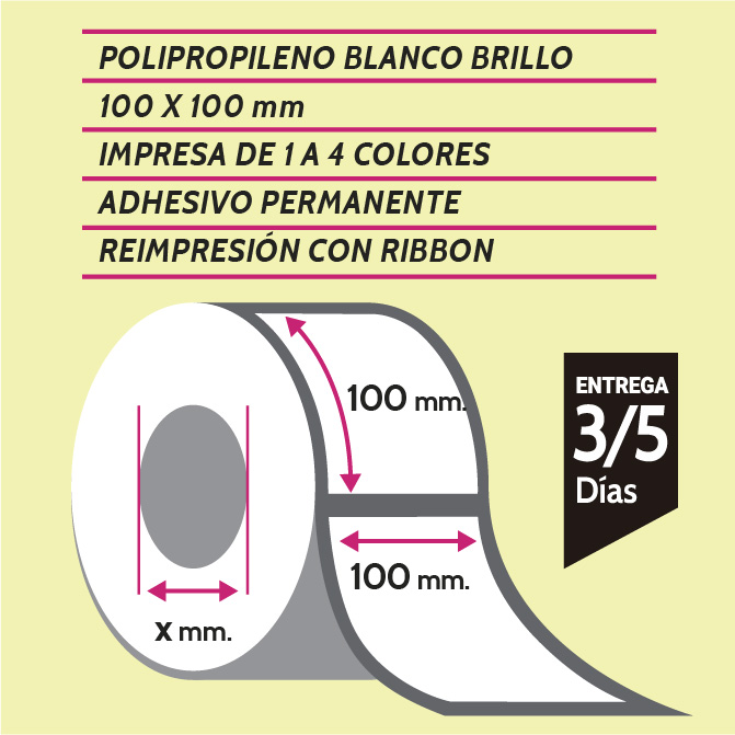 etiquetas de polipropileno 100x100
