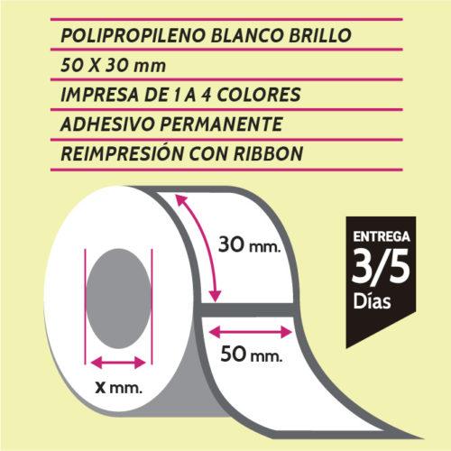etiquetas de polipropileno 50x30