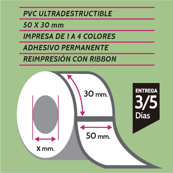 etiquetas de pvc 50x30