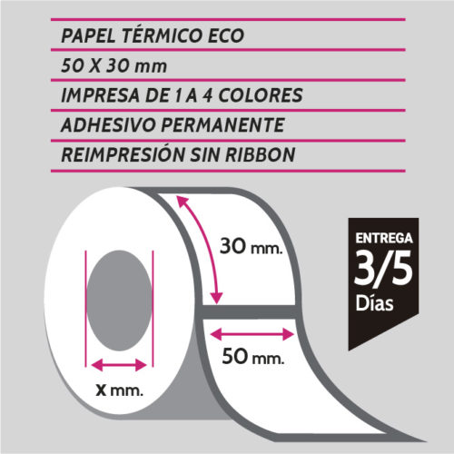 etiquetas de papel térmico eco 50x30