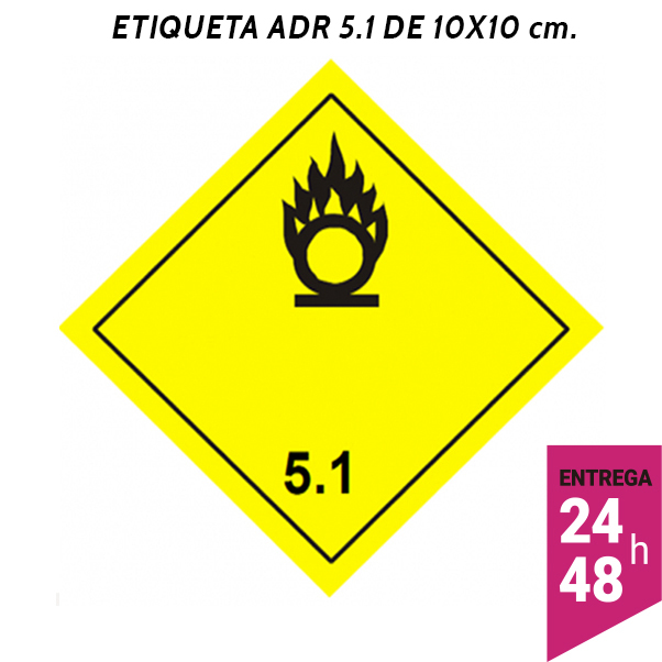 Etiqueta ADR 5.1 100x100 polipropileno blanco - transporte mercancías peligrosas - Etiqueting