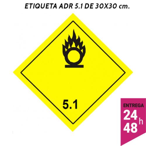 Etiqueta ADR 5.1 300x300 polipropileno blanco - transporte mercancías peligrosas - Etiqueting