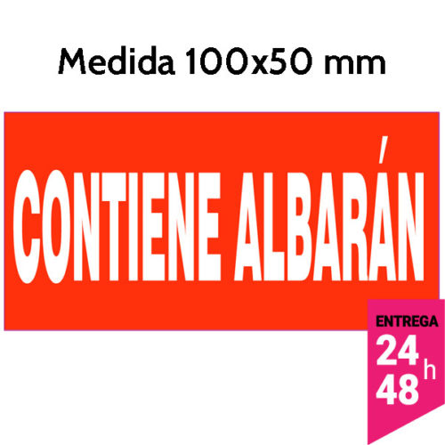 Etiqueta CONTIENE ALBARAN color rojo 100x50 mm - Etiqueting