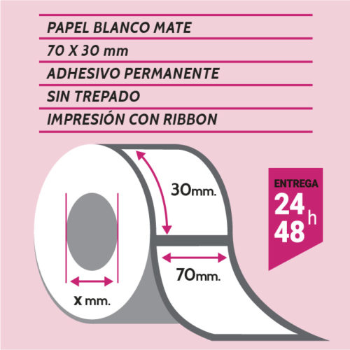 Etiqueta adhesiva papel blanco mate 70x30 mm - etiqueting
