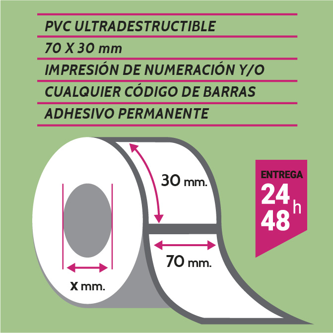 Etiqueta autoadhesiva 70x30 mm PVC adhesivo permanente con numeración y/o código de barras