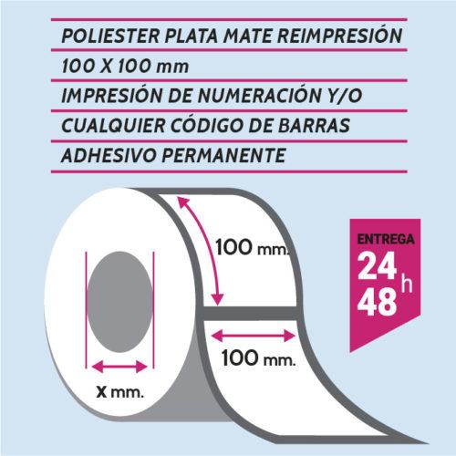 Etiqueta autoadhesiva 100x100 mm poliester adhesivo permanente con numeración y/o código de barras