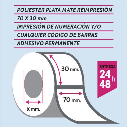 Etiqueta autoadhesiva 70x30 mm poliester adhesivo permanente con numeración y/o código de barras