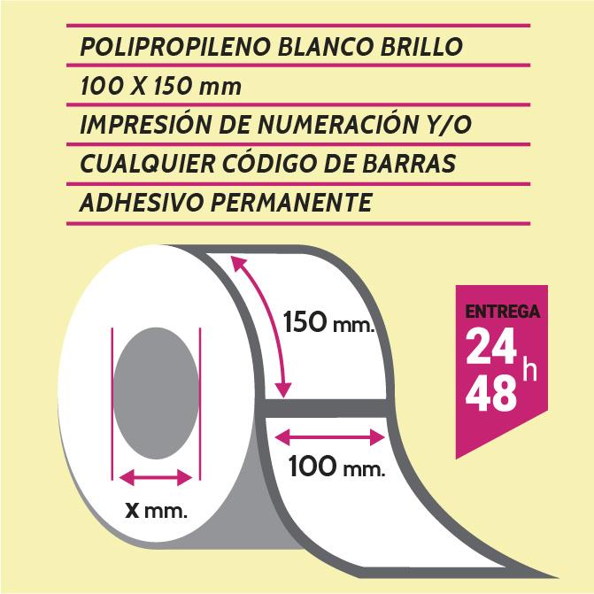 Etiqueta autoadhesiva 100x150 mm papel polipropileno adhesivo permanente con numeración y/o código de barras