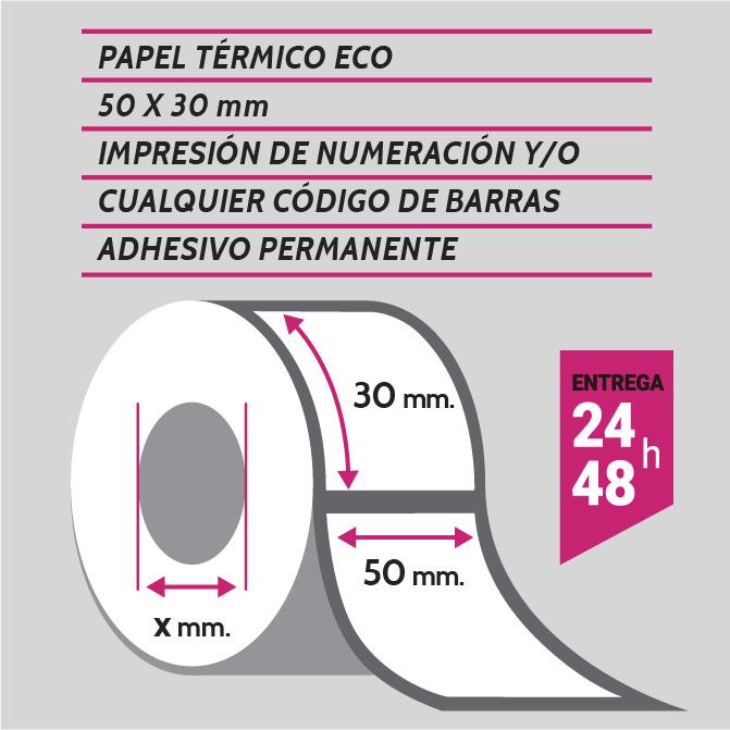 Etiqueta autoadhesiva 50x30 mm papel térmico adhesivo permanente con numeración y/o código de barras