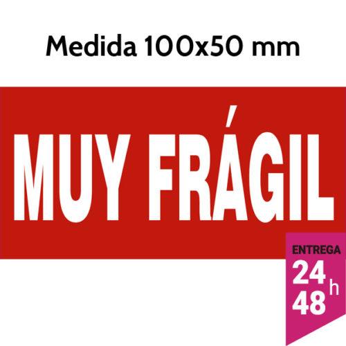 Etiqueta MUY FRAGIL fondo rojo 100x50 mm - Etiqueting