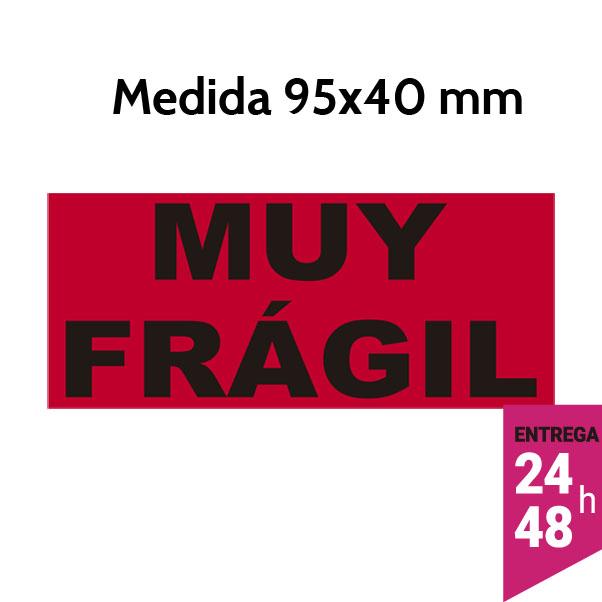 Etiqueta MUY FRAGIL fluorescente rojo 95x40 mm - Etiqueting