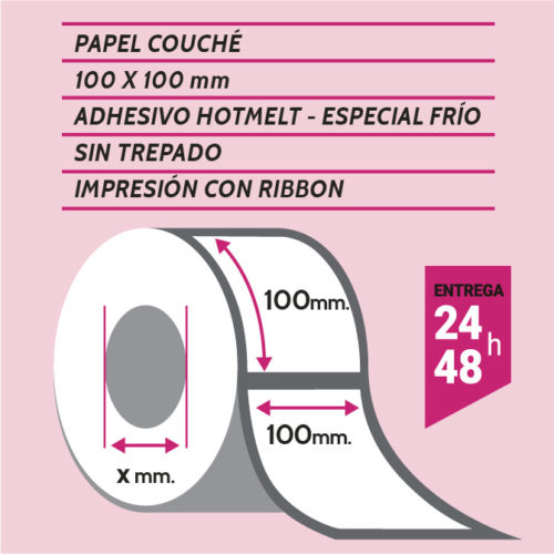 Etiqueta 100x100 mm couche hotmelt - etiqueting