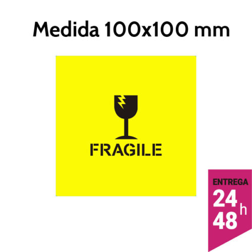 Etiqueta FRAGILE de fluorescente amarillo 100x100 mm - Etiqueting