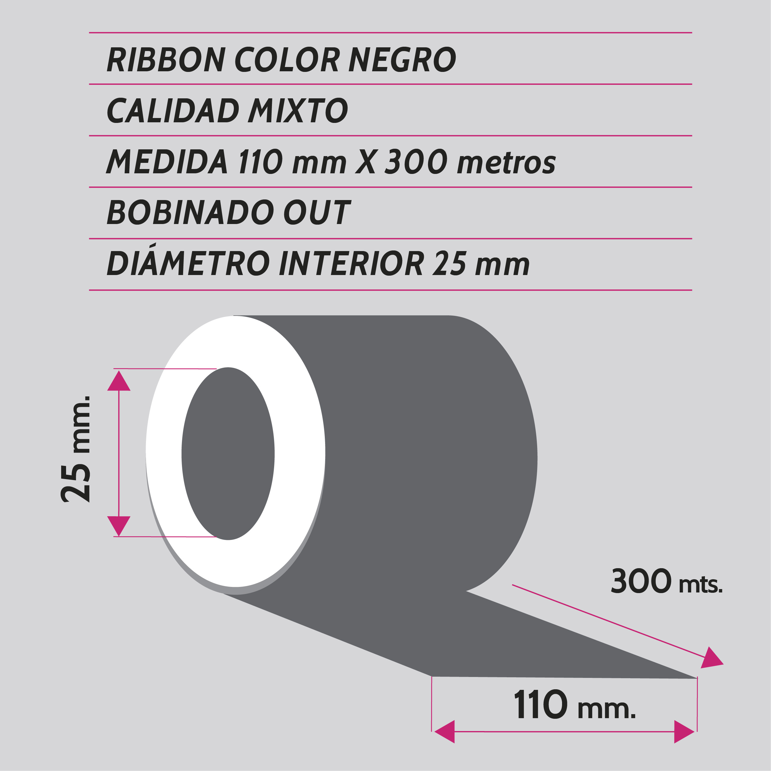 ribbon negro mixto 110x300 metros - etiqueting