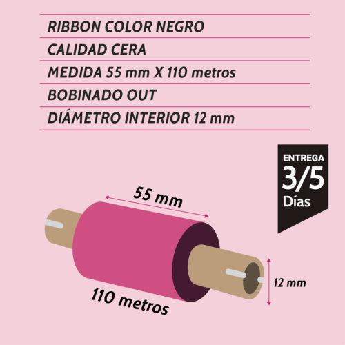 ribbon cera negro 55 mm x 110 metros - Etiqueting