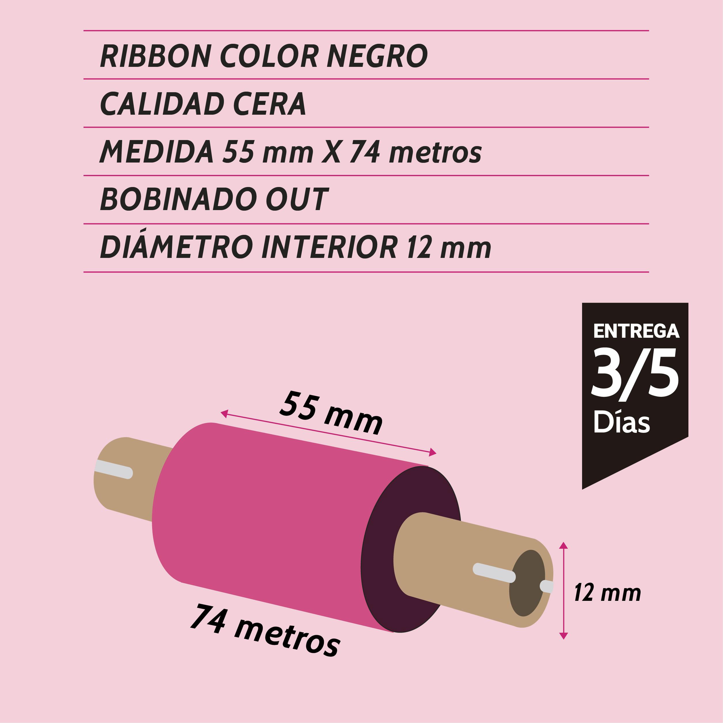 ribbon cera negro 55 mm x 74 metros - Etiqueting